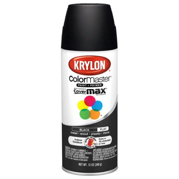 Аэрозольная краска-грунт Krylon Colormaster Flat Black 51602